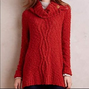 Anthropologie Moth Rust Cable Knit Cowl Sweater